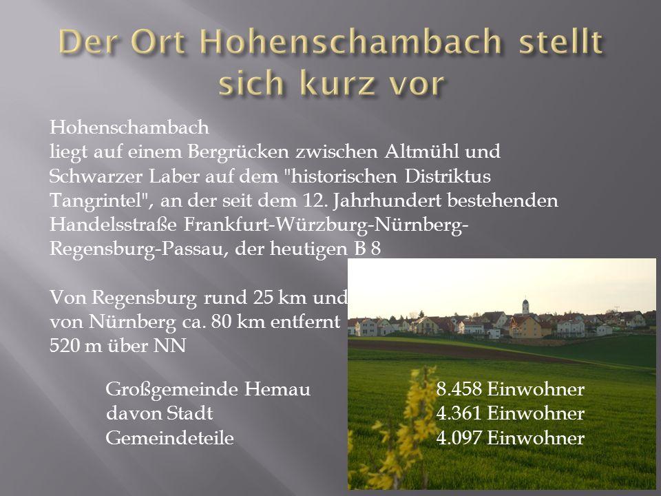 Hohenschambach liegt auf einem Bergrücken zwischen Altmühl und Schwarzer Laber auf dem historischen Distriktus Tangrintel , an der seit dem 12.