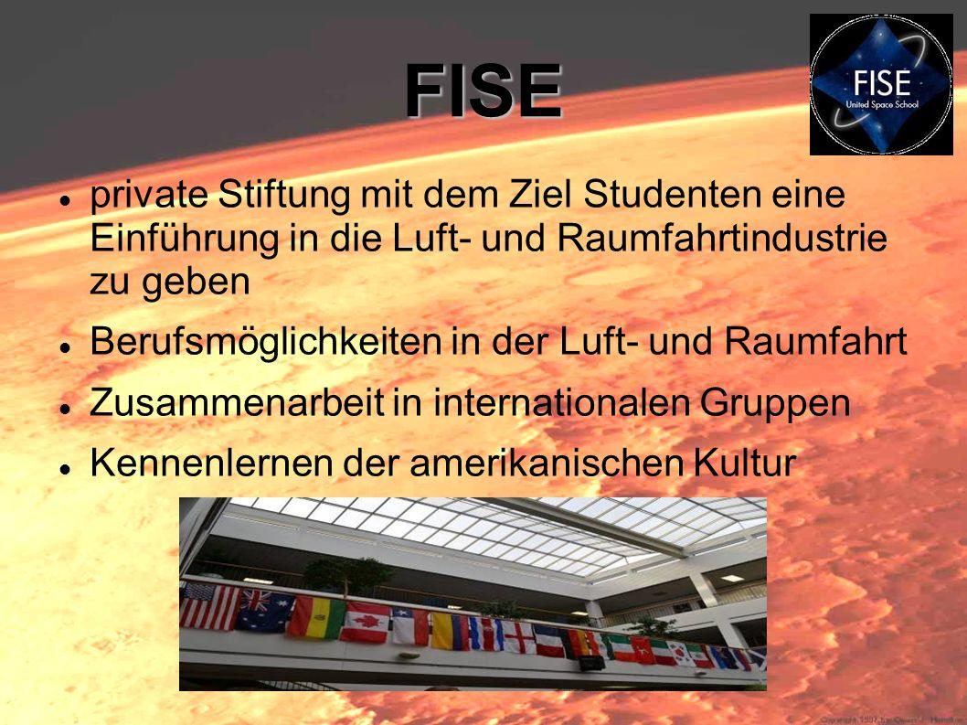 FISE private Stiftung mit dem Ziel Studenten eine Einführung in die Luft- und Raumfahrtindustrie zu geben Berufsmöglichkeiten in der Luft- und Raumfah