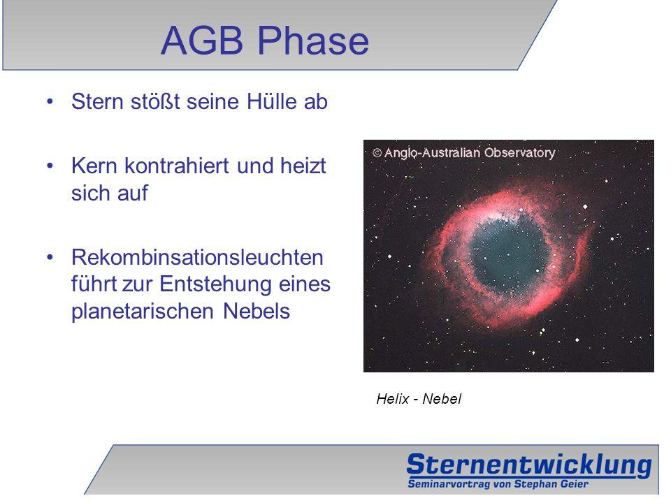 18 Stern stößt seine Hülle ab Kern kontrahiert und heizt sich auf Rekombinsationsleuchten führt zur Entstehung eines planetarischen Nebels AGB Phase H