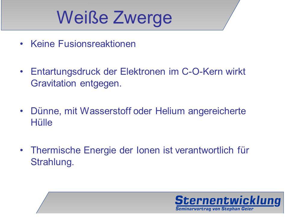 20 Keine Fusionsreaktionen Entartungsdruck der Elektronen im C-O-Kern wirkt Gravitation entgegen. Dünne, mit Wasserstoff oder Helium angereicherte Hül