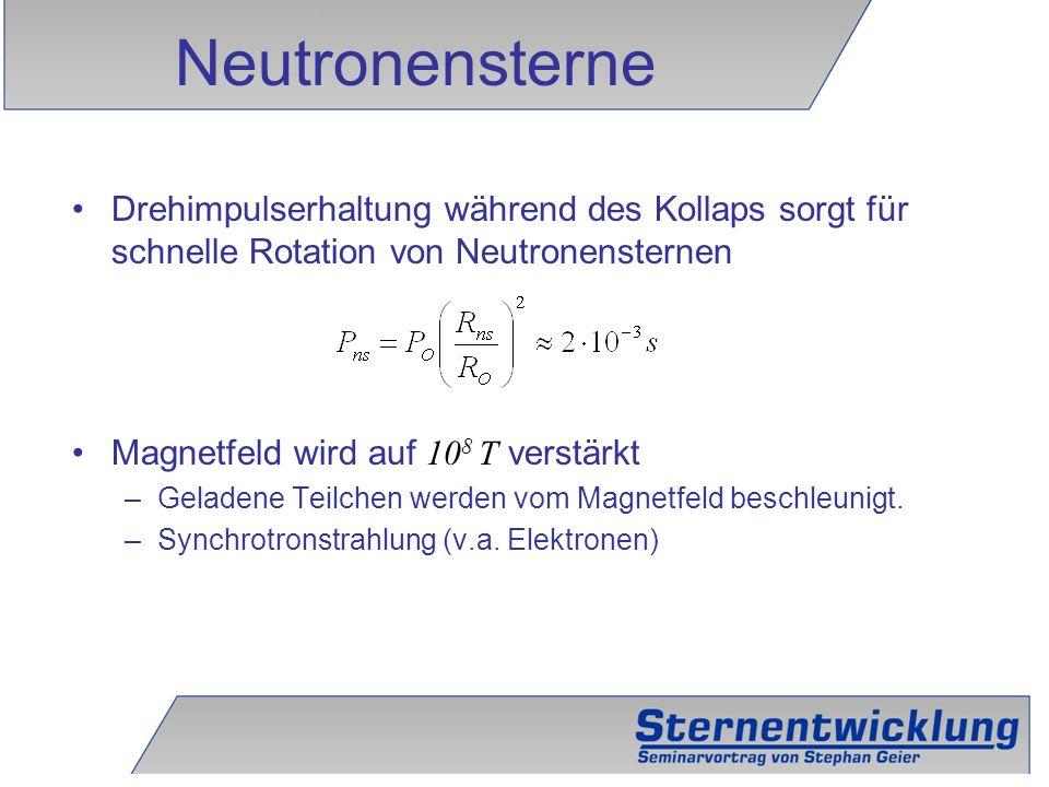 32 Drehimpulserhaltung während des Kollaps sorgt für schnelle Rotation von Neutronensternen Magnetfeld wird auf 10 8 T verstärkt –Geladene Teilchen we
