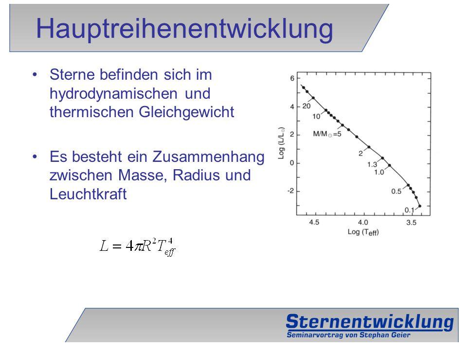 5 Sterne befinden sich im hydrodynamischen und thermischen Gleichgewicht Es besteht ein Zusammenhang zwischen Masse, Radius und Leuchtkraft Hauptreihe