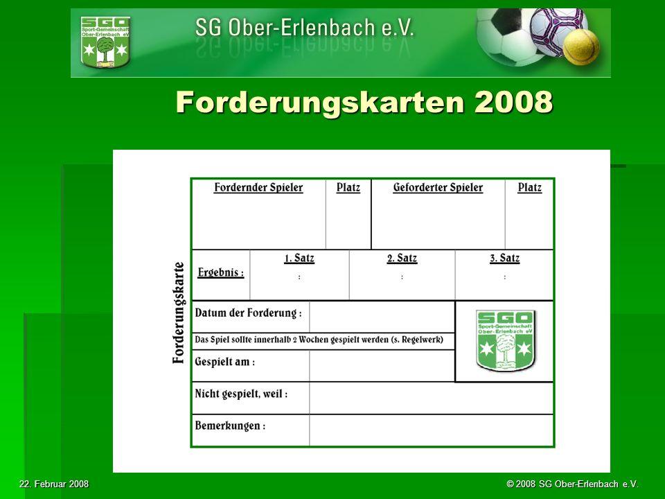 22. Februar 2008 © 2008 SG Ober-Erlenbach e.V. Forderungskarten 2008