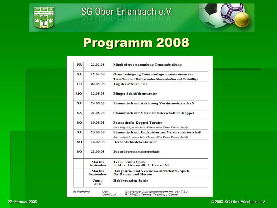 22. Februar 2008 © 2008 SG Ober-Erlenbach e.V. Programm 2008