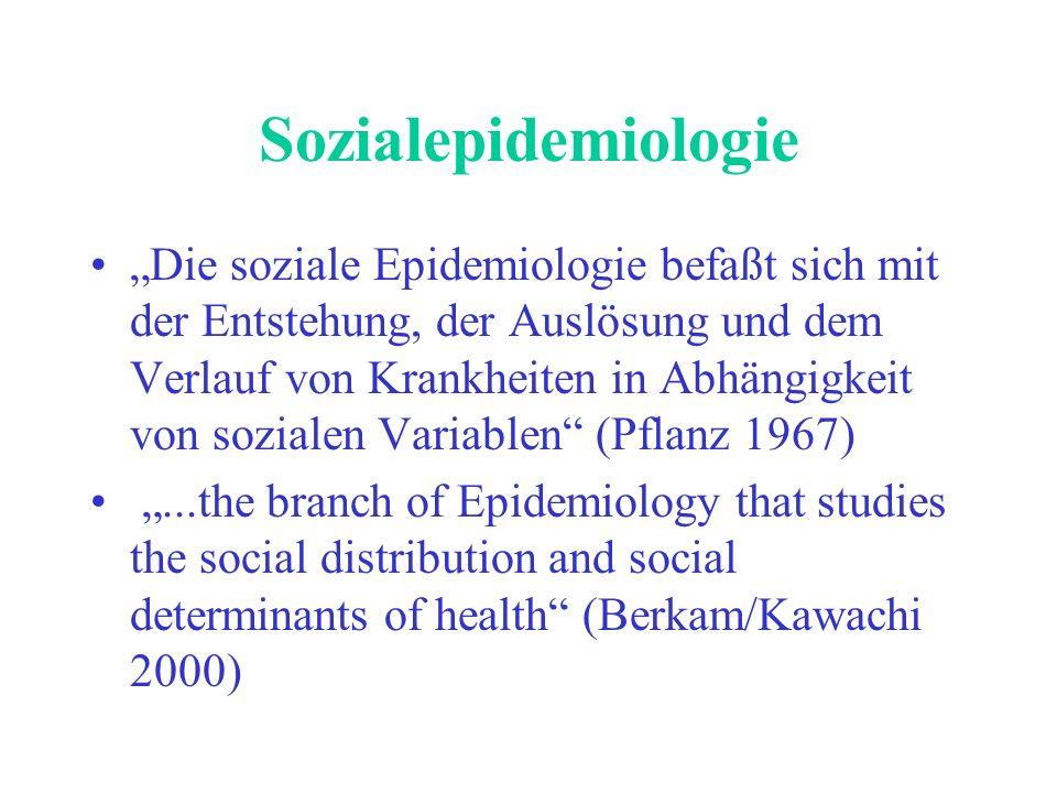 2 Sozialepidemiologie Die Sozialepidemiologie befaßt sich als wissenschaftliche Disziplin mit den Auswirkungen horizontaler und vertikaler sozialer Ungleichheiten (Waller 2001) Wissenschaftliche Analyse zur Beschreibung, Erklärung und Verringerung der gesundheitlichen Ungleichheit mit den Methoden der Epidemiologie (Mielck/Bloomfield 2001)