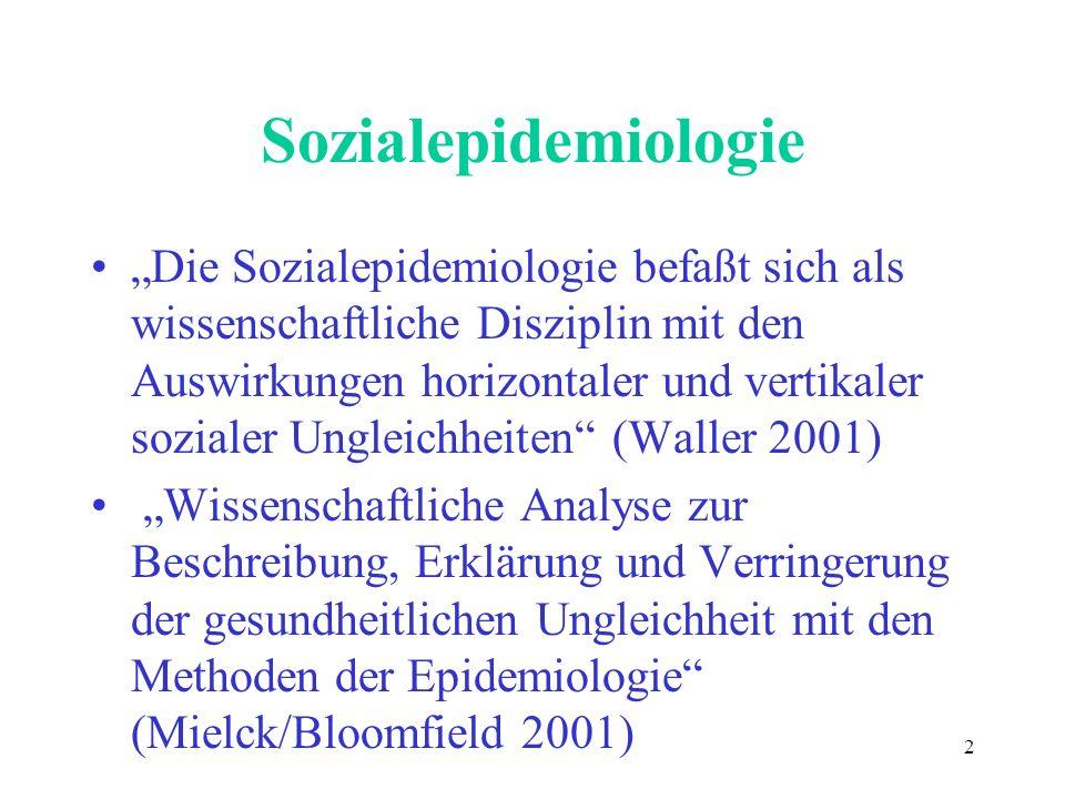 Themen der Sozialepidemiologie (Auswahl Waller 1997) Soziale Schichtung Arbeit Arbeitslosigkeit Migration Geschlechtsrollen Familienrollen