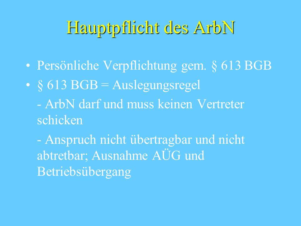 Exkurs Betriebsübergang § 613 a BGB Übergang eines Betriebes(teils) durch Rechtsgeschäft auf einen anderen Inhaber Rechtsfolge: - Übergang der Arbeitsverhältnisse - Kündigungsverbot - Informationspflicht des ArbG - Widerspruchsrecht der ArbN