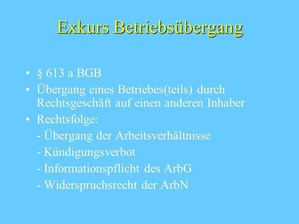Exkurs Betriebsübergang § 613 a BGB Übergang eines Betriebes(teils) durch Rechtsgeschäft auf einen anderen Inhaber Rechtsfolge: - Übergang der Arbeits
