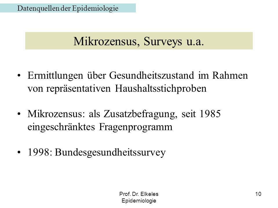 Prof. Dr. Elkeles Epidemiologie 10 Ermittlungen über Gesundheitszustand im Rahmen von repräsentativen Haushaltsstichproben Mikrozensus: als Zusatzbefr