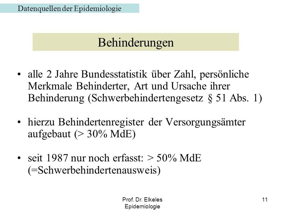 Prof. Dr. Elkeles Epidemiologie 11 alle 2 Jahre Bundesstatistik über Zahl, persönliche Merkmale Behinderter, Art und Ursache ihrer Behinderung (Schwer