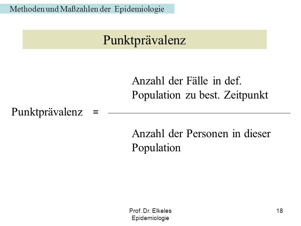 Prof. Dr. Elkeles Epidemiologie 18 Anzahl der Fälle in def. Population zu best. Zeitpunkt Punktprävalenz = Anzahl der Personen in dieser Population Me