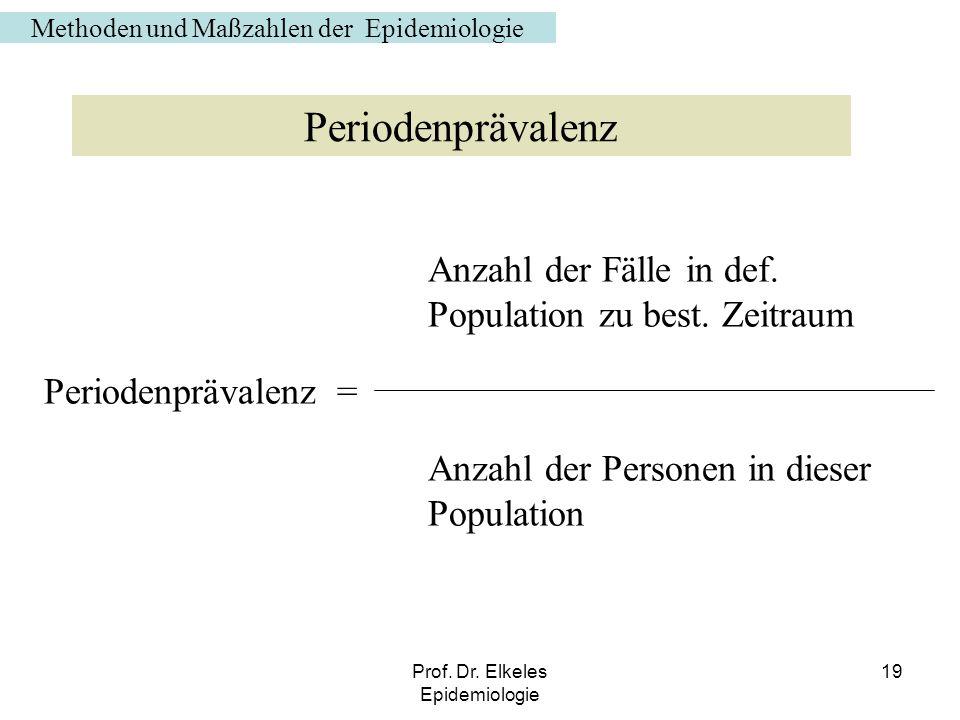 Prof. Dr. Elkeles Epidemiologie 19 Anzahl der Fälle in def. Population zu best. Zeitraum Periodenprävalenz = Anzahl der Personen in dieser Population