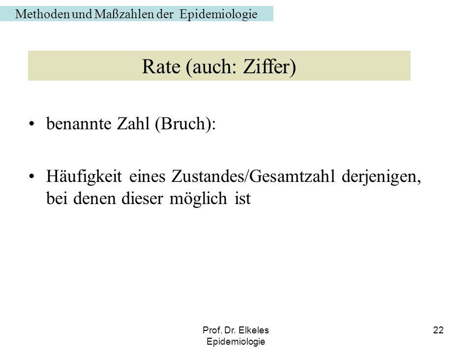 Prof. Dr. Elkeles Epidemiologie 22 benannte Zahl (Bruch): Häufigkeit eines Zustandes/Gesamtzahl derjenigen, bei denen dieser möglich ist Methoden und