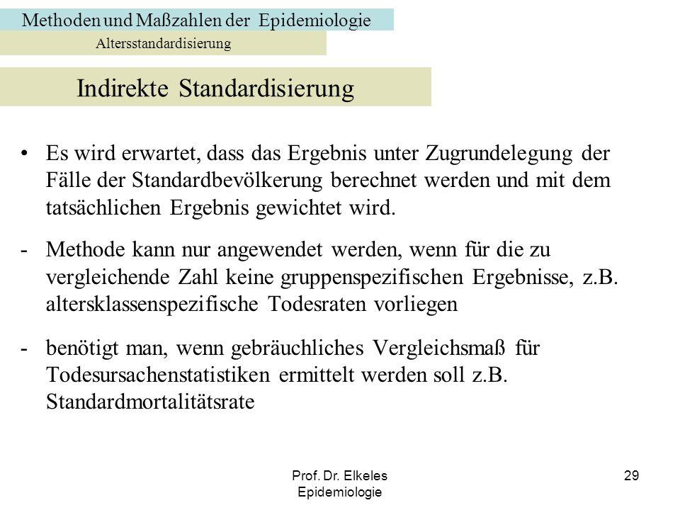 Prof. Dr. Elkeles Epidemiologie 29 Es wird erwartet, dass das Ergebnis unter Zugrundelegung der Fälle der Standardbevölkerung berechnet werden und mit