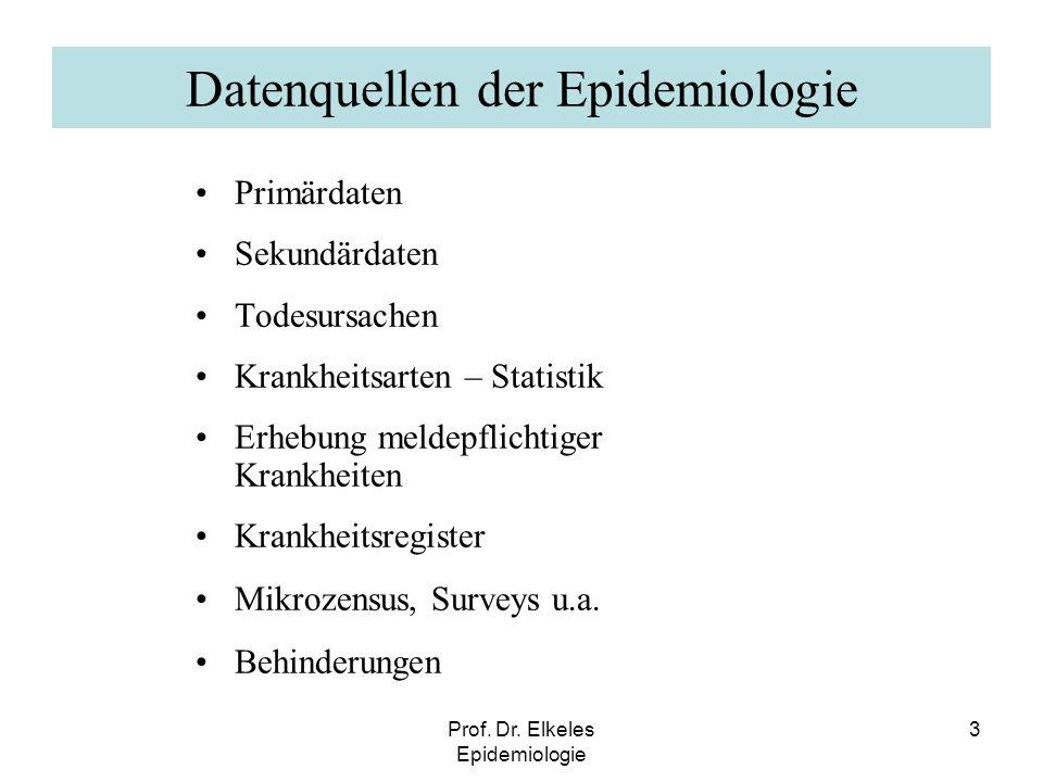 Prof. Dr. Elkeles Epidemiologie 3 Datenquellen der Epidemiologie Primärdaten Sekundärdaten Todesursachen Krankheitsarten – Statistik Erhebung meldepfl