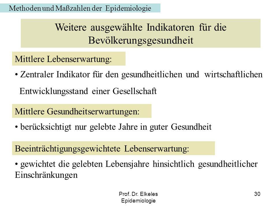 Prof. Dr. Elkeles Epidemiologie 30 Weitere ausgewählte Indikatoren für die Bevölkerungsgesundheit Mittlere Lebenserwartung: Zentraler Indikator für de