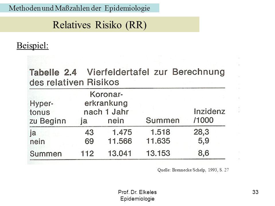 Prof. Dr. Elkeles Epidemiologie 33 Beispiel: Relatives Risiko (RR) Quelle: Brennecke/Schelp, 1993, S. 27 Methoden und Maßzahlen der Epidemiologie