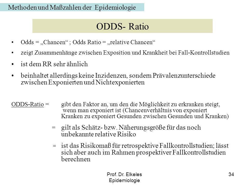 Prof. Dr. Elkeles Epidemiologie 34 Odds = Chancen ; Odds Ratio = relative Chancen zeigt Zusammenhänge zwischen Exposition und Krankheit bei Fall-Kontr