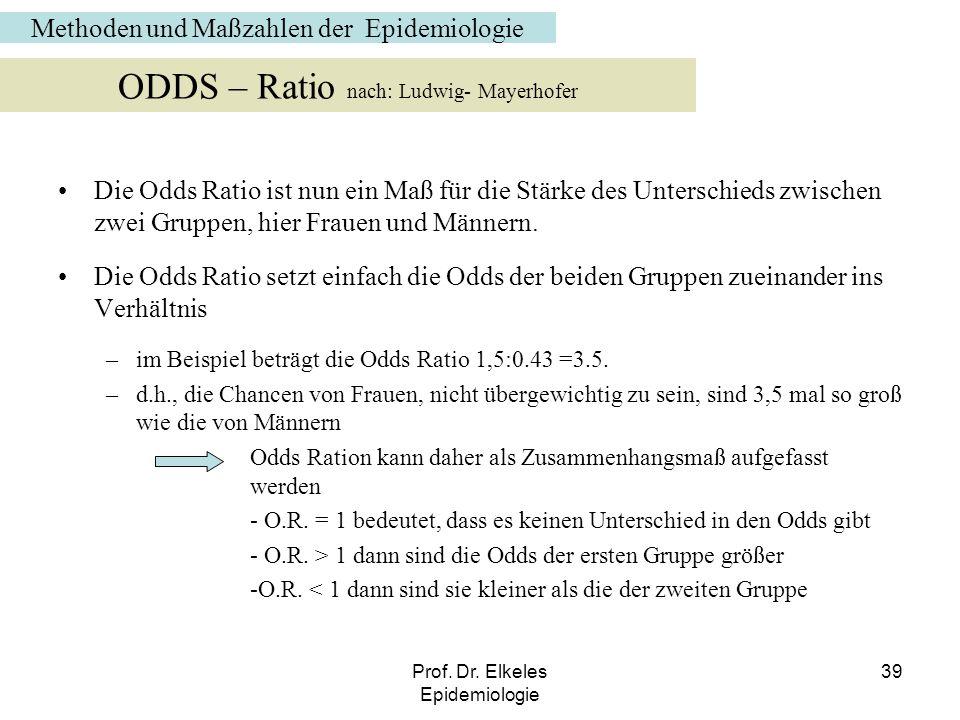 Prof. Dr. Elkeles Epidemiologie 39 Die Odds Ratio ist nun ein Maß für die Stärke des Unterschieds zwischen zwei Gruppen, hier Frauen und Männern. Die