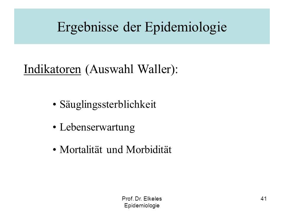 Prof. Dr. Elkeles Epidemiologie 41 Ergebnisse der Epidemiologie Säuglingssterblichkeit Lebenserwartung Mortalität und Morbidität Indikatoren (Auswahl