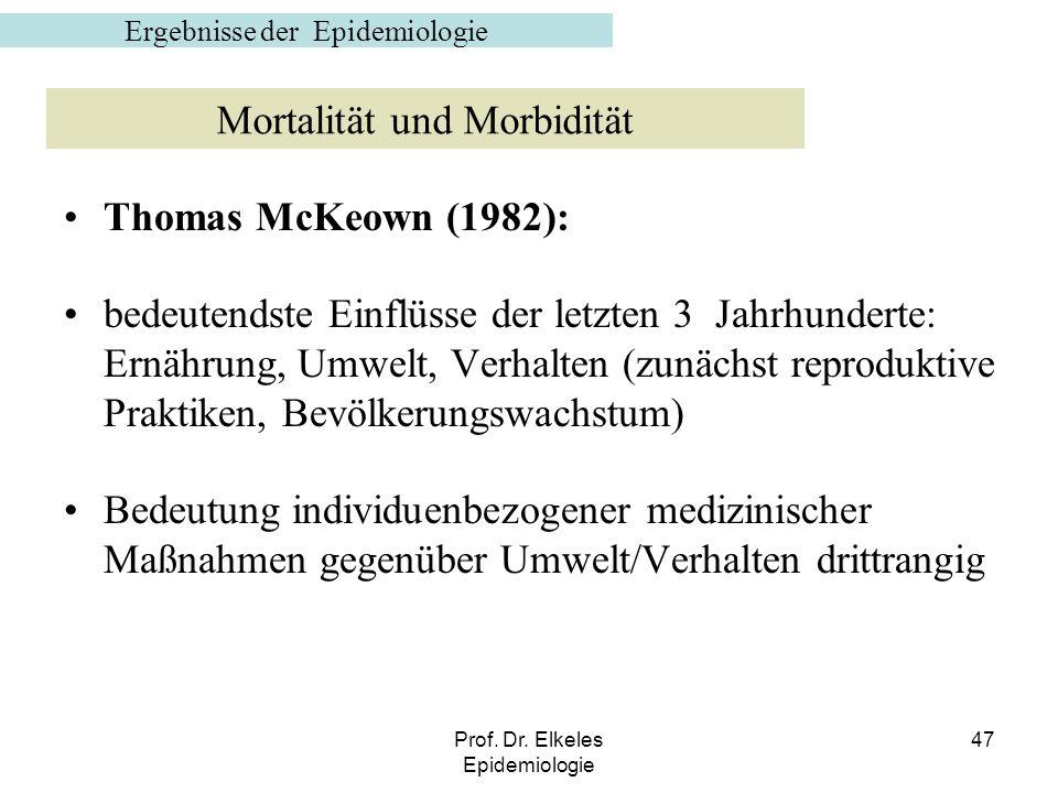 Prof. Dr. Elkeles Epidemiologie 47 Thomas McKeown (1982): bedeutendste Einflüsse der letzten 3 Jahrhunderte: Ernährung, Umwelt, Verhalten (zunächst re
