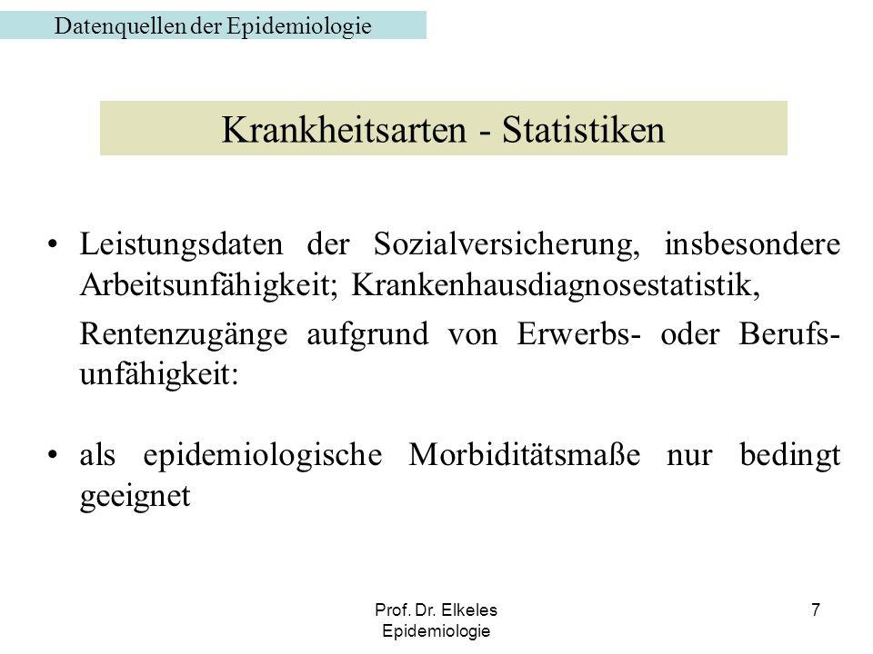 Prof. Dr. Elkeles Epidemiologie 7 Leistungsdaten der Sozialversicherung, insbesondere Arbeitsunfähigkeit; Krankenhausdiagnosestatistik, Rentenzugänge
