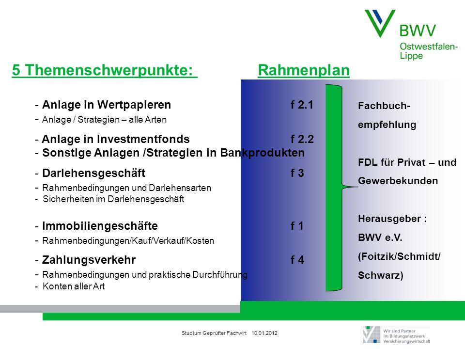 Studium Geprüfter Fachwirt 10.01.2012 5 Themenschwerpunkte: Rahmenplan - Anlage in Wertpapieren f 2.1 - Anlage / Strategien – alle Arten - Anlage in I