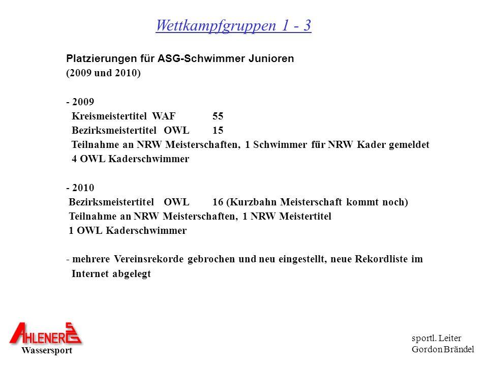 Wassersport sportl. Leiter Gordon Brändel Wettkampfgruppen 1 - 3 Platzierungen für ASG-Schwimmer Junioren (2009 und 2010) - 2009 Kreismeistertitel WAF