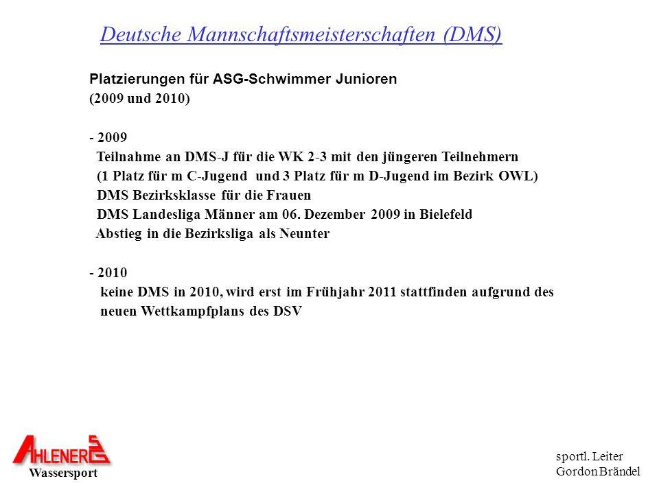 Deutsche Mannschaftsmeisterschaften (DMS) Platzierungen für ASG-Schwimmer Junioren (2009 und 2010) - 2009 Teilnahme an DMS-J für die WK 2-3 mit den jü