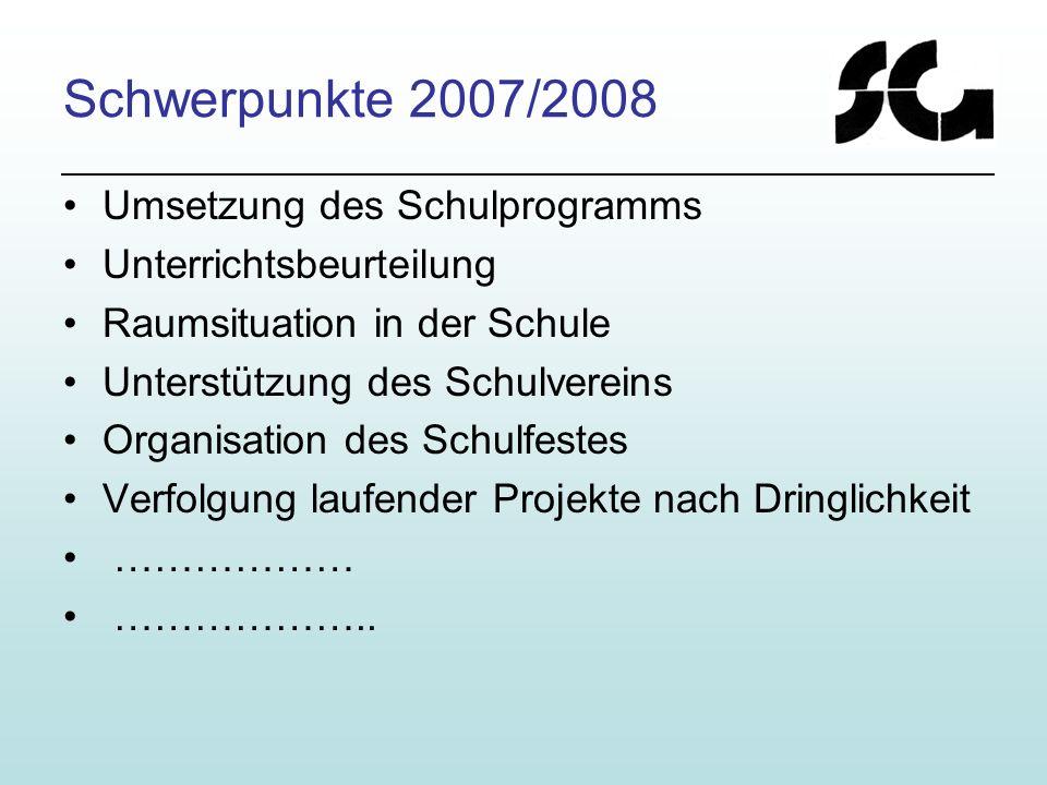 Schwerpunkte 2007/2008 Umsetzung des Schulprogramms Unterrichtsbeurteilung Raumsituation in der Schule Unterstützung des Schulvereins Organisation des