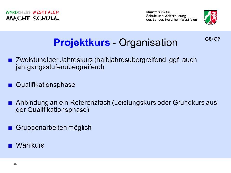 19 Projektkurs - Organisation Zweistündiger Jahreskurs (halbjahresübergreifend, ggf. auch jahrgangsstufenübergreifend) Qualifikationsphase Anbindung a