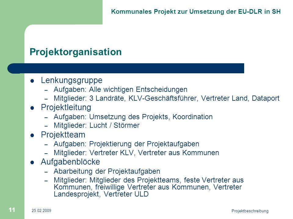 Kommunales Projekt zur Umsetzung der EU-DLR in SH 25.02.2009 Projektbeschreibung 11 Projektorganisation Lenkungsgruppe – Aufgaben: Alle wichtigen Ents