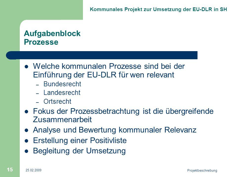 Kommunales Projekt zur Umsetzung der EU-DLR in SH 25.02.2009 Projektbeschreibung 15 Aufgabenblock Prozesse Welche kommunalen Prozesse sind bei der Ein