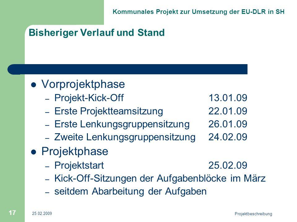 Kommunales Projekt zur Umsetzung der EU-DLR in SH 25.02.2009 Projektbeschreibung 17 Bisheriger Verlauf und Stand Vorprojektphase – Projekt-Kick-Off13.