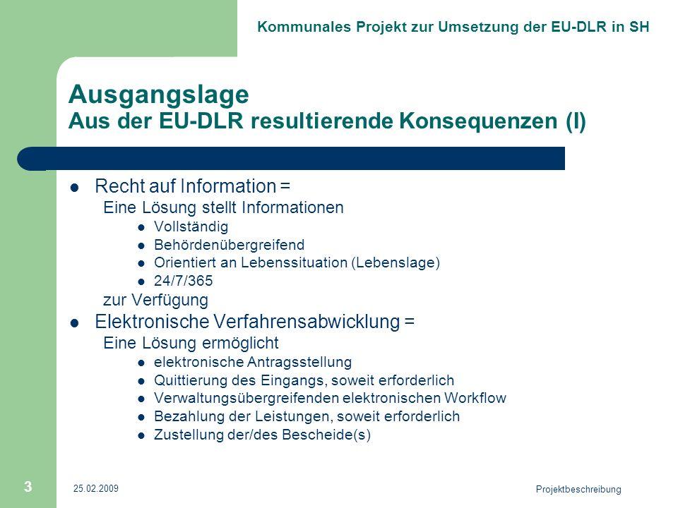 Kommunales Projekt zur Umsetzung der EU-DLR in SH 25.02.2009 Projektbeschreibung 3 Ausgangslage Aus der EU-DLR resultierende Konsequenzen (I) Recht au