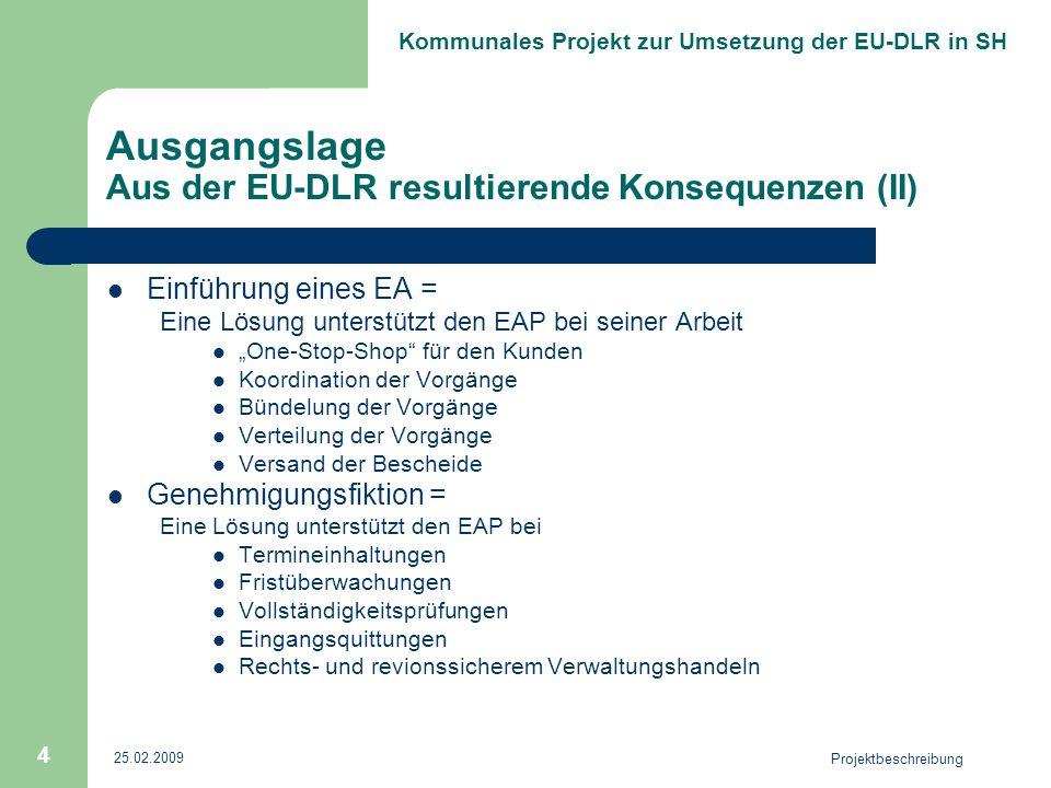 Kommunales Projekt zur Umsetzung der EU-DLR in SH 25.02.2009 Projektbeschreibung 4 Ausgangslage Aus der EU-DLR resultierende Konsequenzen (II) Einführ