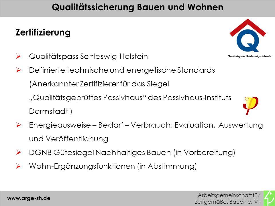 Arbeitsgemeinschaft für zeitgemäßes Bauen e. V. www.arge-sh.de Qualitätssicherung Bauen und Wohnen Zertifizierung Qualitätspass Schleswig-Holstein Def