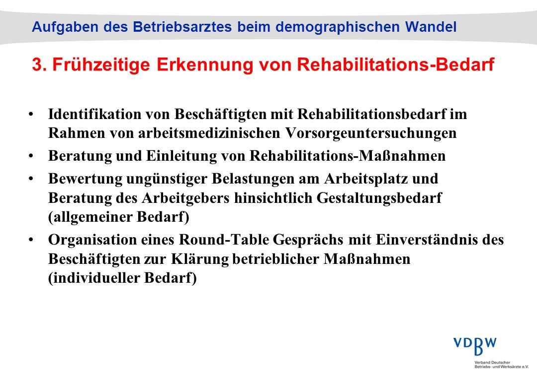 Aufgaben des Betriebsarztes beim demographischen Wandel 3. Frühzeitige Erkennung von Rehabilitations-Bedarf Identifikation von Beschäftigten mit Rehab