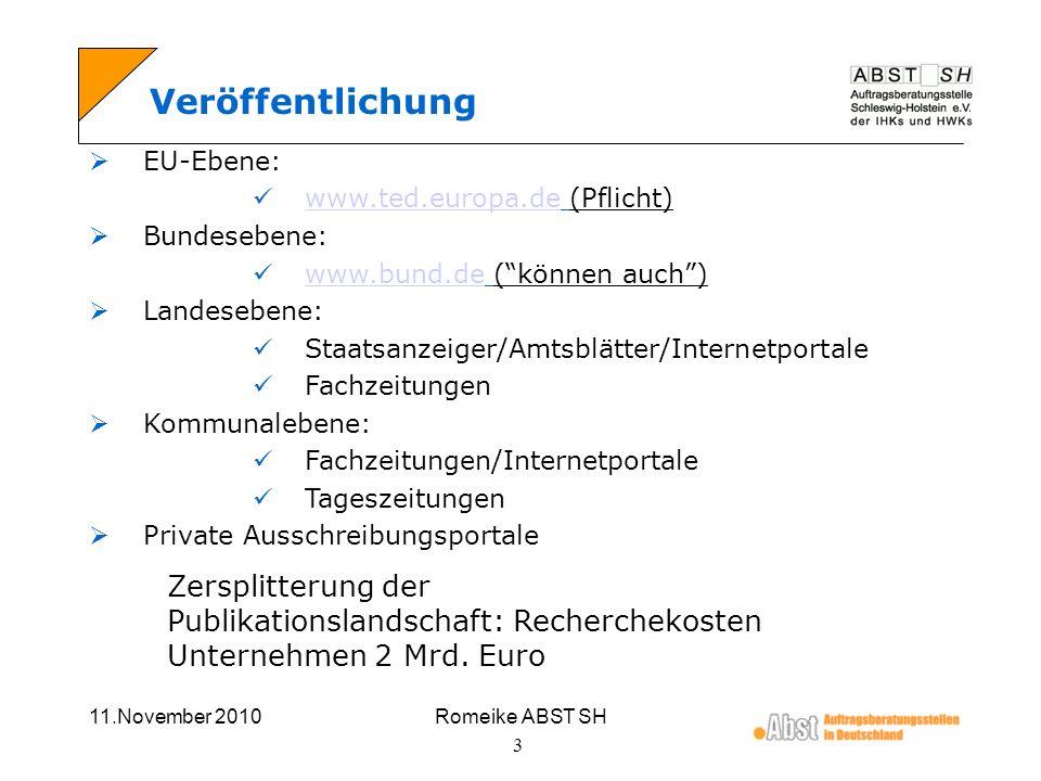 11.November 2010Romeike ABST SH 3 Veröffentlichung EU-Ebene: www.ted.europa.de (Pflicht) www.ted.europa.de Bundesebene: www.bund.de (können auch) www.