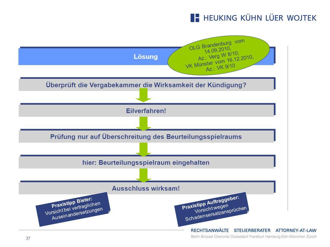 37 Lösung OLG Brandenburg vom 14.09.2010, Az.: Verg W 8/10; VK Münster vom 16.12.2010, Az.: VK 9/10 Überprüft die Vergabekammer die Wirksamkeit der Kü