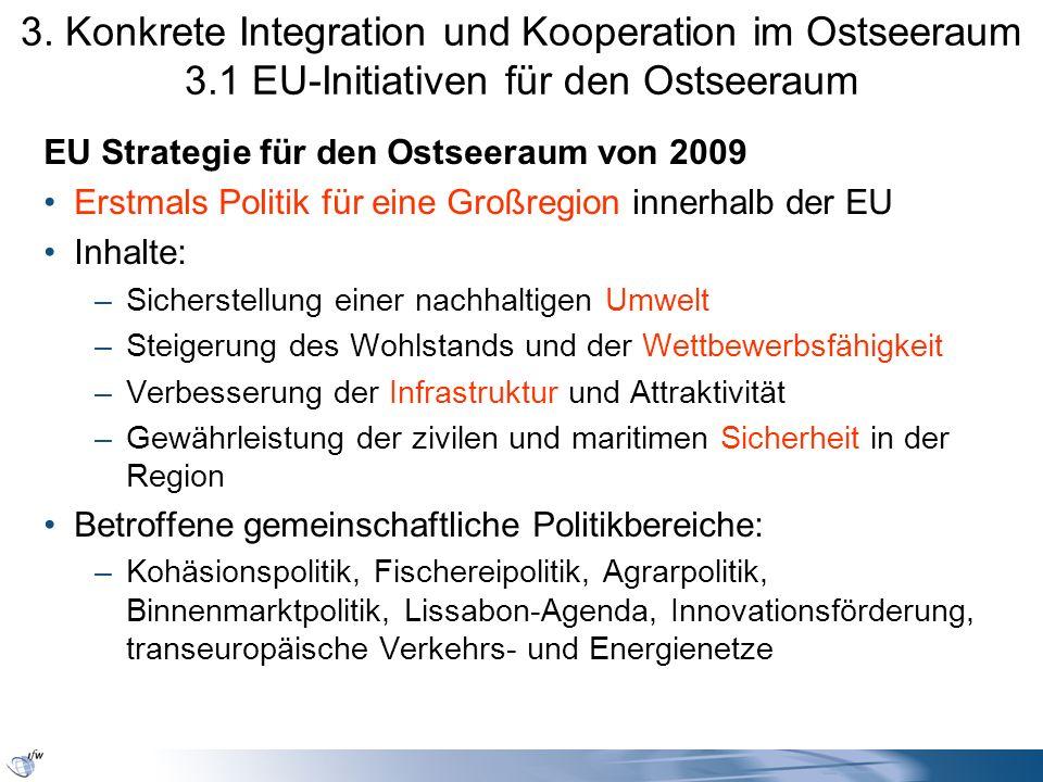 3. Konkrete Integration und Kooperation im Ostseeraum 3.1 EU-Initiativen für den Ostseeraum EU Strategie für den Ostseeraum von 2009 Erstmals Politik