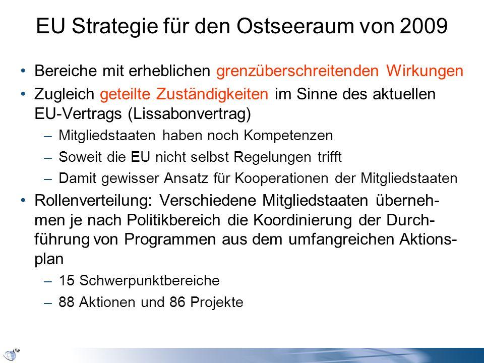 EU Strategie für den Ostseeraum von 2009 Bereiche mit erheblichen grenzüberschreitenden Wirkungen Zugleich geteilte Zuständigkeiten im Sinne des aktue