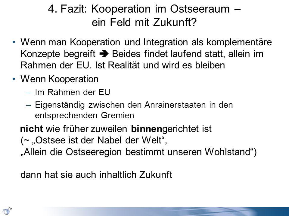 4. Fazit: Kooperation im Ostseeraum – ein Feld mit Zukunft? Wenn man Kooperation und Integration als komplementäre Konzepte begreift Beides findet lau