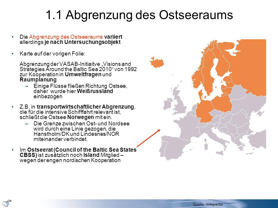 Wirtschaftliche Bedeutung des Ostseeraums In wirtschaftlicher Hinsicht ist der Ostseeraum durchaus bedeutend, –Im Norden und Westen gehören Länder mit hohen Pro-Kopf- Einkommen zu den Anrainern –Innerhalb Deutschlands muss man das für die an die Ostsee grenzenden Bundesländer allerdings etwas relativieren Er wird aber auch stets überschätzt, Wenn man einfach die Bruttoinlandsprodukte (BIP) aller Anrainerstaaten, auch der großen, in ihrer Gesamtheit addiert und dabei Stillschweigend unterstellt, der Ostseeraum als Wirtschaftsraum würde alle Regionen der Anrainerstaaten –im Süden bis zur Zugspitze, –Im Südosten bis zu den Karpaten und –im Osten bis weit über Wladiwostok hinaus bis zur Beringstraße umfassen