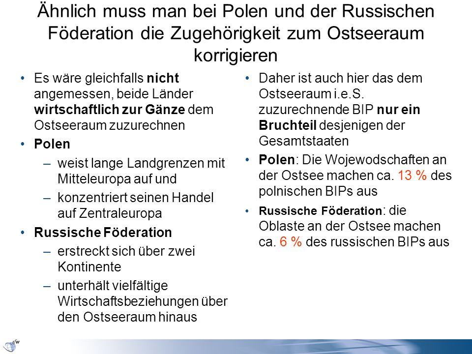 Ähnlich muss man bei Polen und der Russischen Föderation die Zugehörigkeit zum Ostseeraum korrigieren Es wäre gleichfalls nicht angemessen, beide Länd