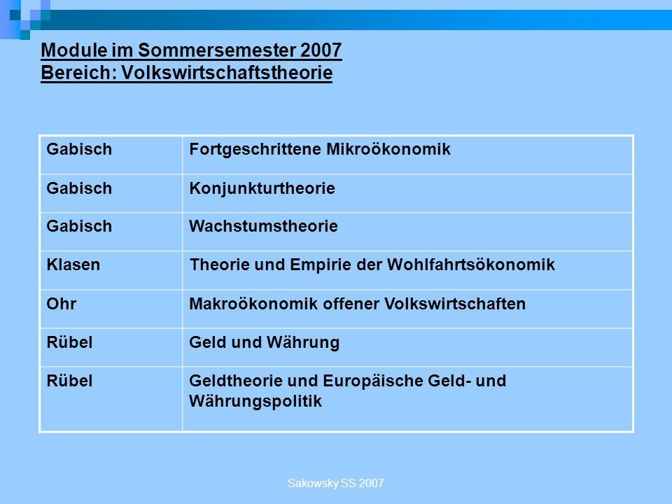 Sakowsky SS 2007 Module im Sommersemester 2007 Bereich: Volkswirtschaftstheorie GabischFortgeschrittene Mikroökonomik GabischKonjunkturtheorie Gabisch