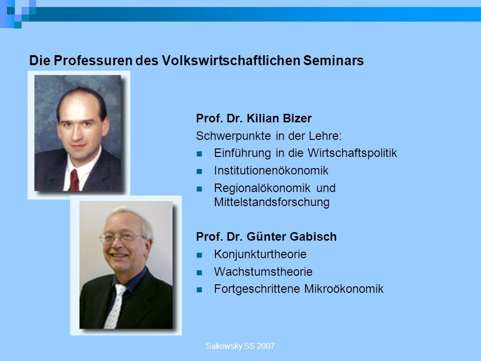 Sakowsky SS 2007 Die Professuren des Volkswirtschaftlichen Seminars Prof. Dr. Kilian Bizer Schwerpunkte in der Lehre: Einführung in die Wirtschaftspol