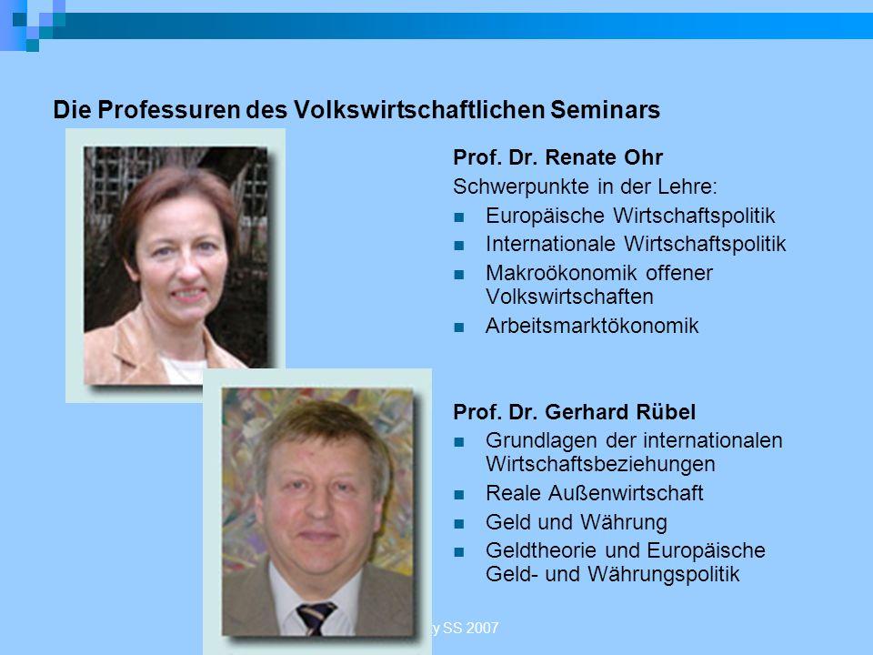 Sakowsky SS 2007 Die Professuren des Volkswirtschaftlichen Seminars Prof. Dr. Renate Ohr Schwerpunkte in der Lehre: Europäische Wirtschaftspolitik Int