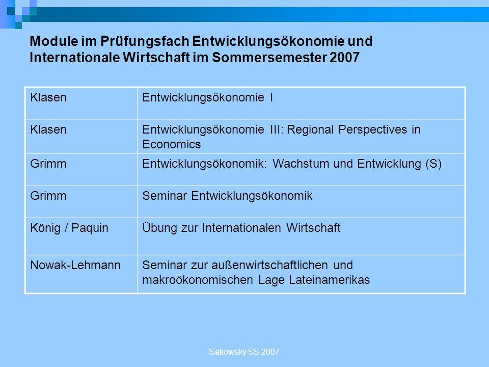 Sakowsky SS 2007 Module im Prüfungsfach Entwicklungsökonomie und Internationale Wirtschaft im Sommersemester 2007 KlasenEntwicklungsökonomie I KlasenE