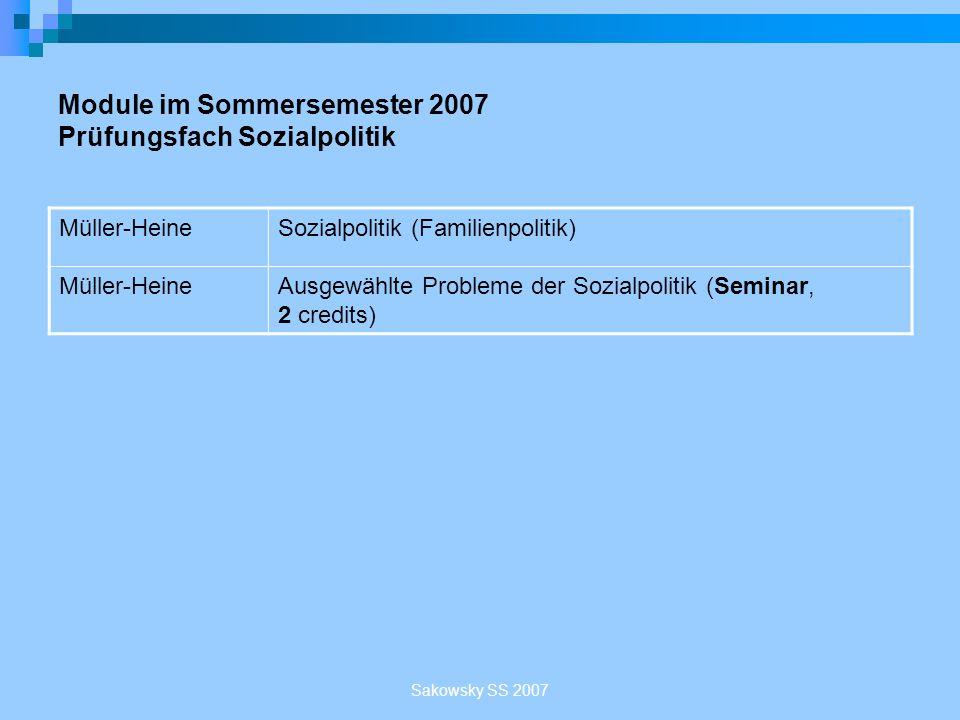 Sakowsky SS 2007 Module im Sommersemester 2007 Prüfungsfach Sozialpolitik Müller-HeineSozialpolitik (Familienpolitik) Müller-HeineAusgewählte Probleme